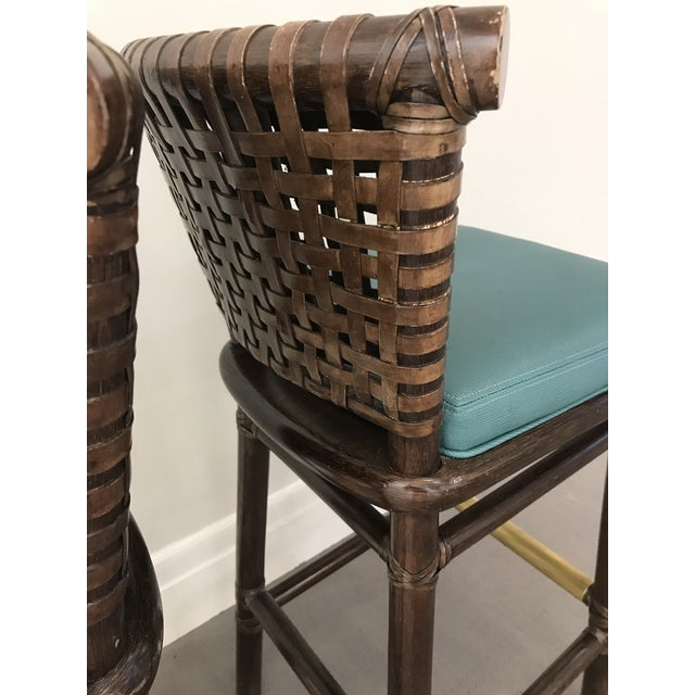 Transitional Teal Leather Like McGuire Bar Stools - a Pair For Sale - Image 3 of 12