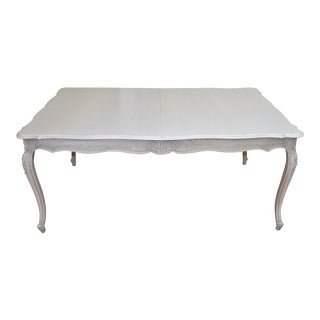 "Louis XV Style Painted Dining Table With 3 Extension Leaves, Opens to 130""."