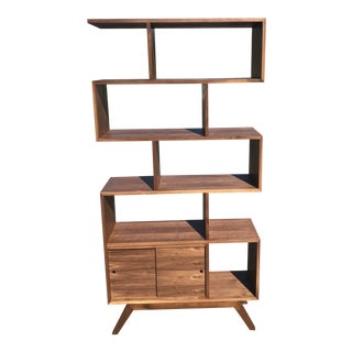 Staggered Walnut Bookcase For Sale