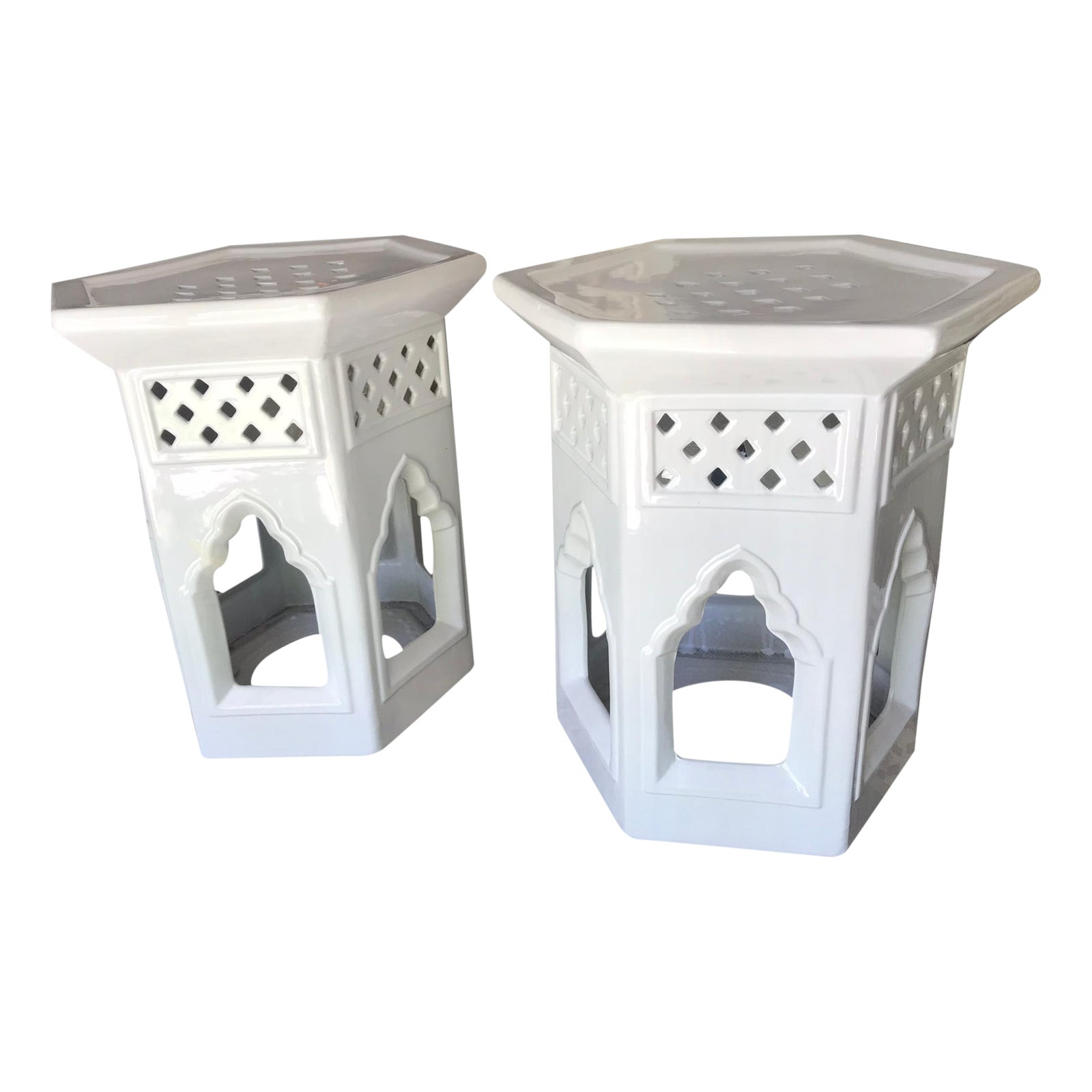 Moroccan Ceramic Geometric Off White Garden Stools Side Tables A