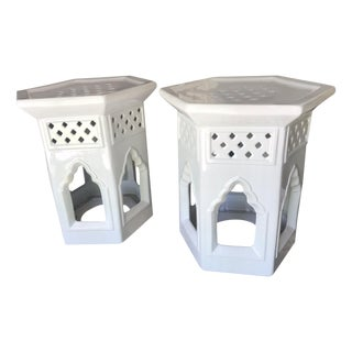 Moroccan Ceramic Geometric Off White Garden Stools / Side Tables – a Pair For Sale