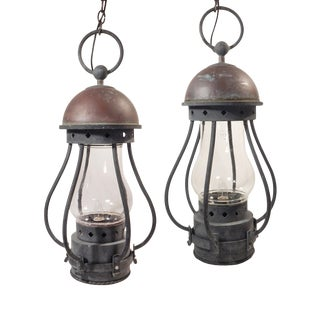 Pair of Large Dietz Lanterns For Sale