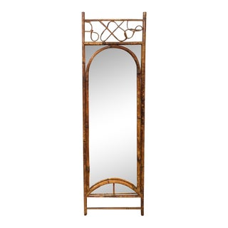 Mid Century Real Bamboo Hall Mirror For Sale