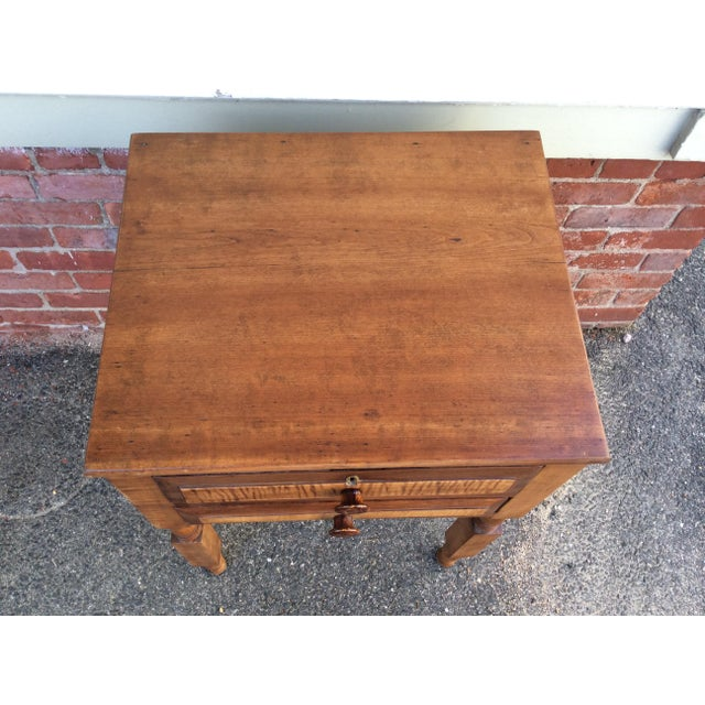 Mid 19th Century Antique Tiger Maple and Cherry 2 Drawer Stand For Sale - Image 5 of 9