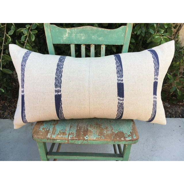 Hand Woven Pillow With Indigo Stripes For Sale In Los Angeles - Image 6 of 6