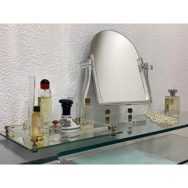 Calligaris Italian glass floating vanity or shelf. This comes with brand new hardware and instructions for attaching to...