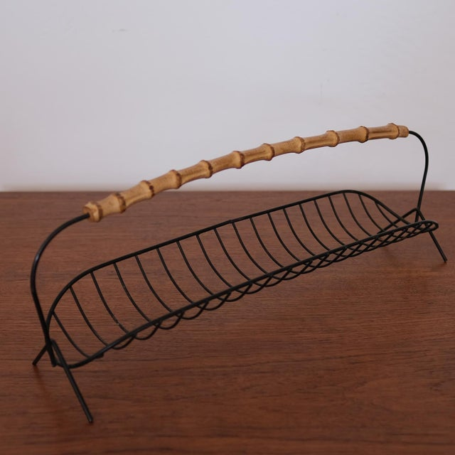 Wire Fruit Basket With Cane Handle, 1950s For Sale In San Diego - Image 6 of 7