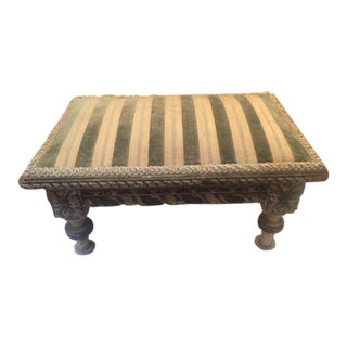 Late 19th Century French Carved Painted Wood Mini Foot Stool For Sale