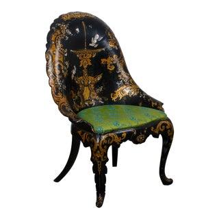 Mid 19th Century Victorian Japanned Papier-Mâché Chair For Sale