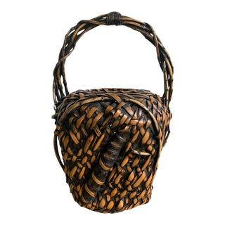 Antique Japanese Bamboo Ikebana Basket of Mingei Style For Sale