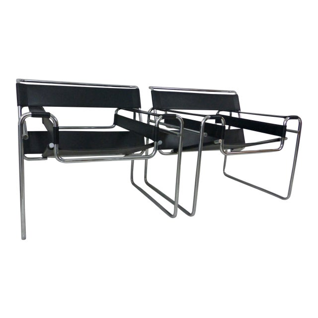 Marcel Breuer Black Leather Chrome Wassily Chairs - A Pair - Image 1 of 10