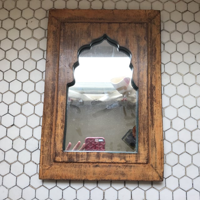 Vintage Indian Archway Painted Teak Mirror - Image 11 of 11