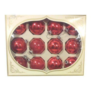 Vintage Red Shiny Bright Glass Ornaments-Set of Twelve For Sale