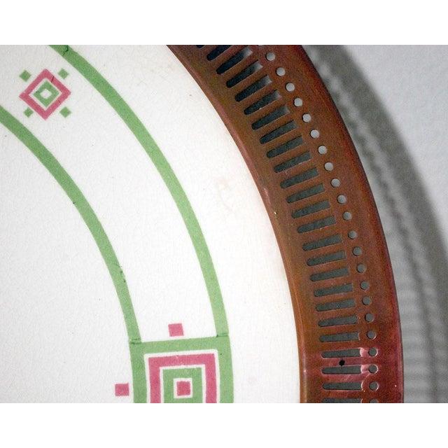 Antique Art Deco Porcelain & Copper Tray For Sale In Saint Louis - Image 6 of 7