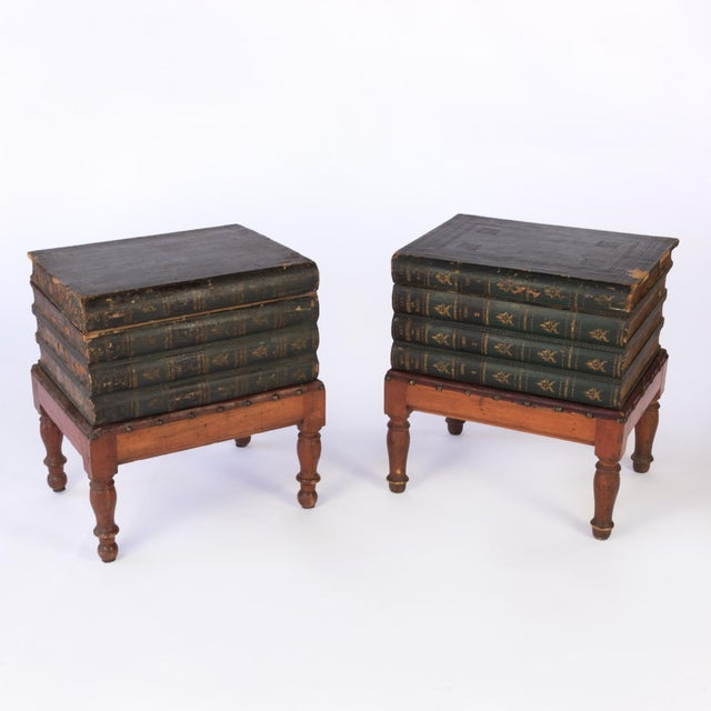 """Pair of Faux Book Box end tables on turned fruitwood legs; the top """"book"""" is hinged to open up and reveal a marbled paper..."""