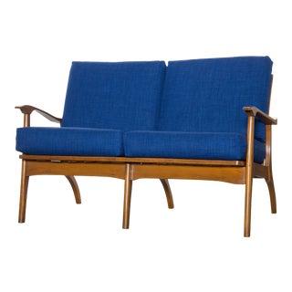 1950s Mid-Century Modern Blue Upholstered Teak Loveseat For Sale