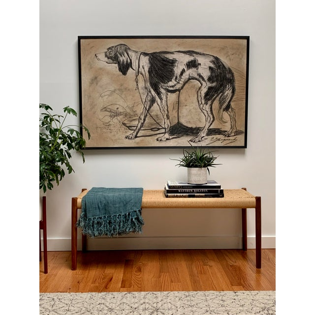 Shabby Chic 1950s Oversized Framed Original Charcoal Dog Portrait Drawing For Sale - Image 3 of 11