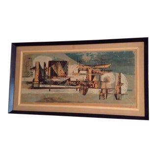1958 Double Signed Framed Serigraph on Board Aerial City For Sale