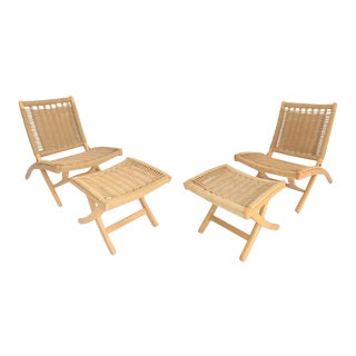 Hans Wegner Style Boho Chic Folding Rope Chairs and Ottomans - 4 Pieces For Sale
