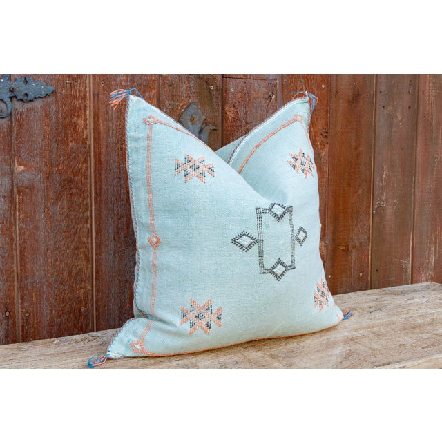 Tribal Cyra Large Square Moroccan Silk Rug Pillow For Sale - Image 3 of 8