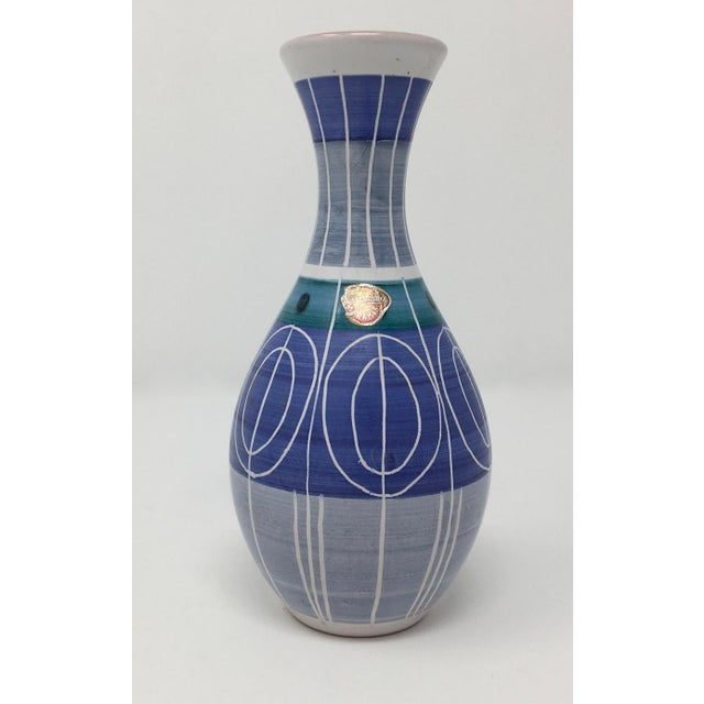 Blue Mid-Century Modern Bromma Keramik Abstract Blue Ceramic Bud Vase For Sale - Image 8 of 8