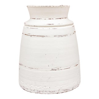 Tall White Nepalese Tribal Ghee Pot For Sale