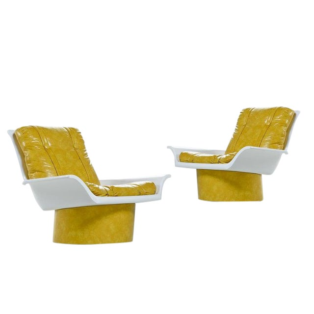 Futorian Decorian Molded Plastic Lemon Candy Shell Italian Modern Lounge Chairs For Sale