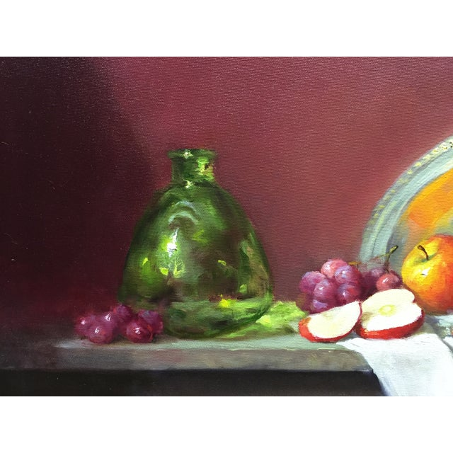 Red Apples, Grapes and Green Bottle Oil Painting - Image 3 of 4