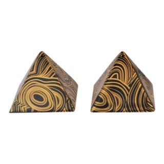 Jonathan Adler Malachite Pattern Sizzling Black and Gold Salt & Pepper Shaker
