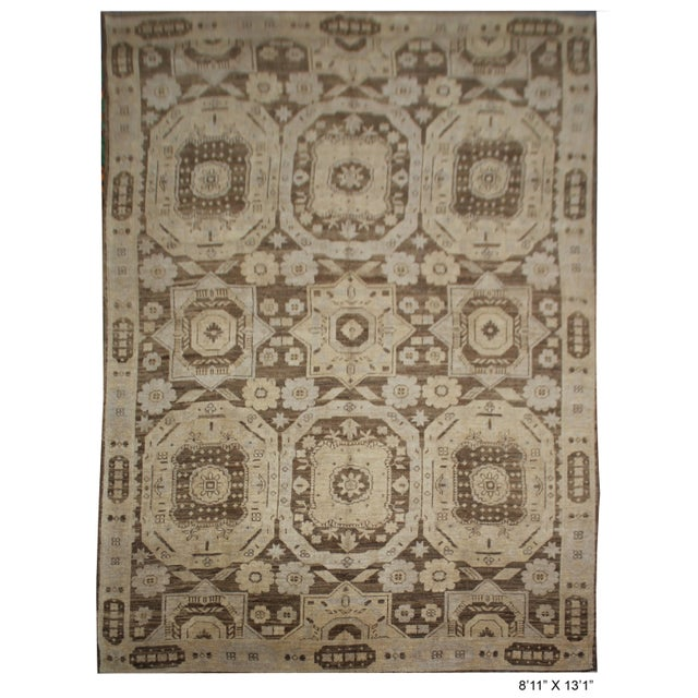Hand knotted Oushak rug made by Aara Rugs Inc. This stunning allover design rug is made of 75% wool & 25% cotton, dyed...