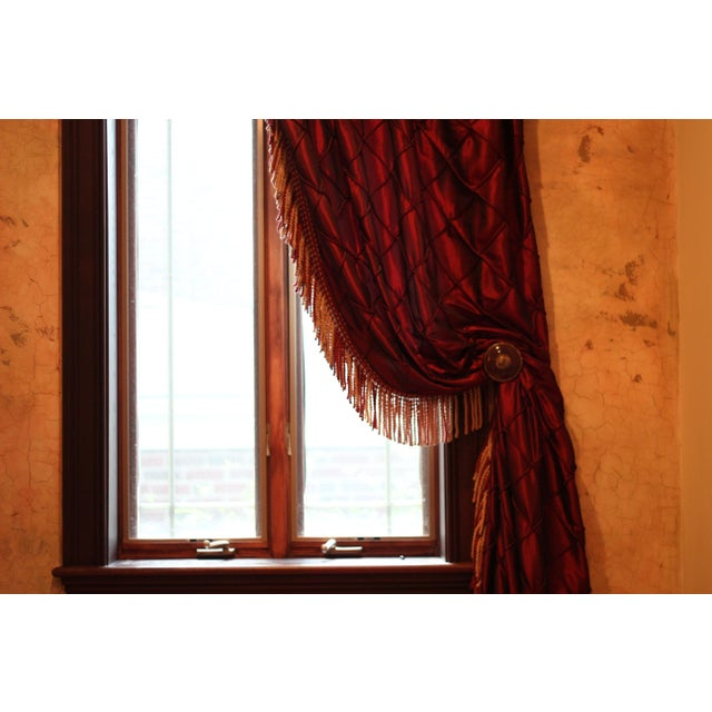 Victorian Style Drapes in Burgundy - A Pair - Image 8 of 10