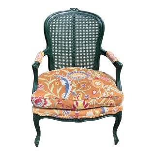 1980s Vintage Green & Multicolored Crewel Century Arm Chair For Sale