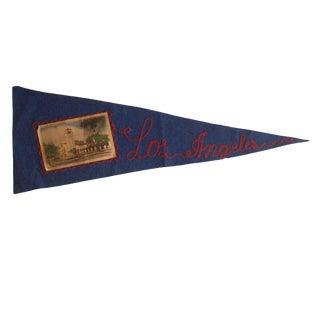 Vintage Los Angeles Felt Flag Pennant For Sale