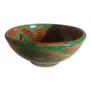 Moise Gross Green & Brown Ceramic Bowl For Sale