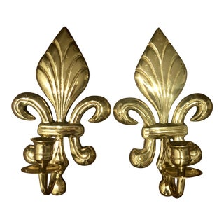 Brass Fleur De Lis Candle Sconces - A Pair