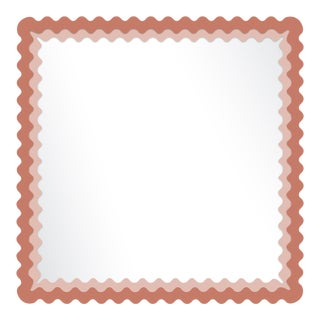 Fleur Home x Chairish Carnival Chaos Square Mirror in Red Earth, 24x24 For Sale