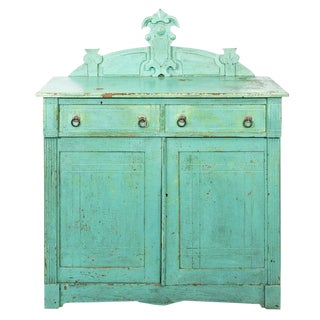 19th Century Shabby Chic Blue Painted Eastlake Style Cupboard For Sale
