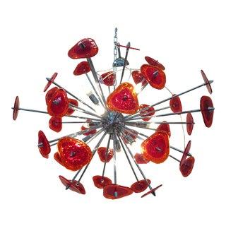 Contemporary Red Murano Glass Sputnik Chandelier For Sale