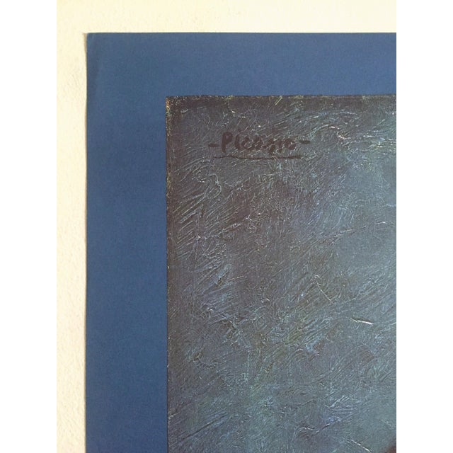 """Navy Blue Pablo Picasso Vintage 1985 Lithograph Print Exhibition Poster """" Courtesan With Jeweled Collar """" 1901 For Sale - Image 8 of 13"""