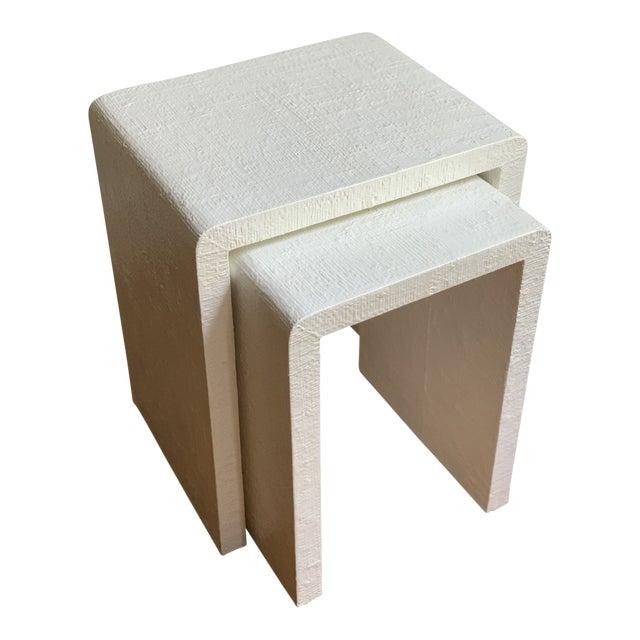 Grasscloth Raffia Nesting Tables - 2 Pieces For Sale