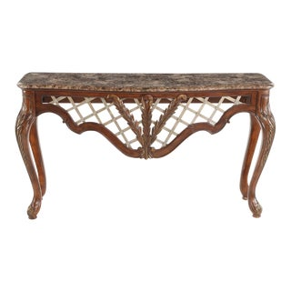 Rococo Style Hand Carved Marble Top Console Table For Sale