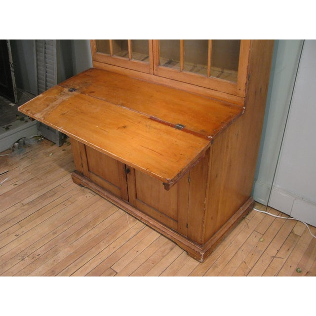 Late 19th Century Antique 19th Century Pine Secretary Bookcase Desk For Sale - Image 5 of 8