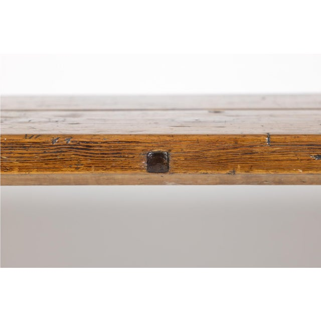Brown Rustic Elm Work Bench With Square Iron Pegs, English Circa 1880. For Sale - Image 8 of 13