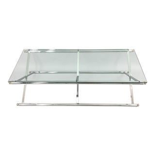 1960s Vintage Milo Baughman Mid Century Modern X Base Chrome & Glass Coffee Table For Sale