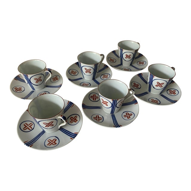 Mid Century Japanese Tea Cups and Saucers - Set of 6 For Sale