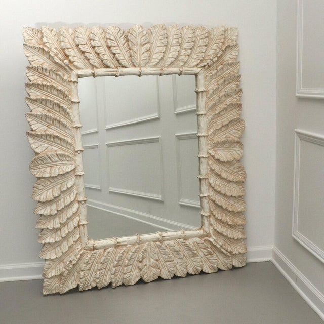 Cream Tropical Palm Tree Leaf Wall Mirror For Sale - Image 8 of 8