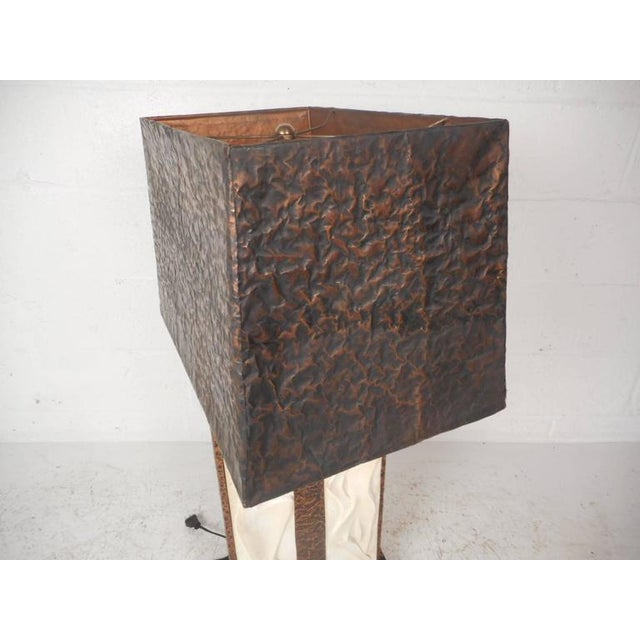 Unique Mid-Century Modern Textured Copper Table Lamp - Image 11 of 11
