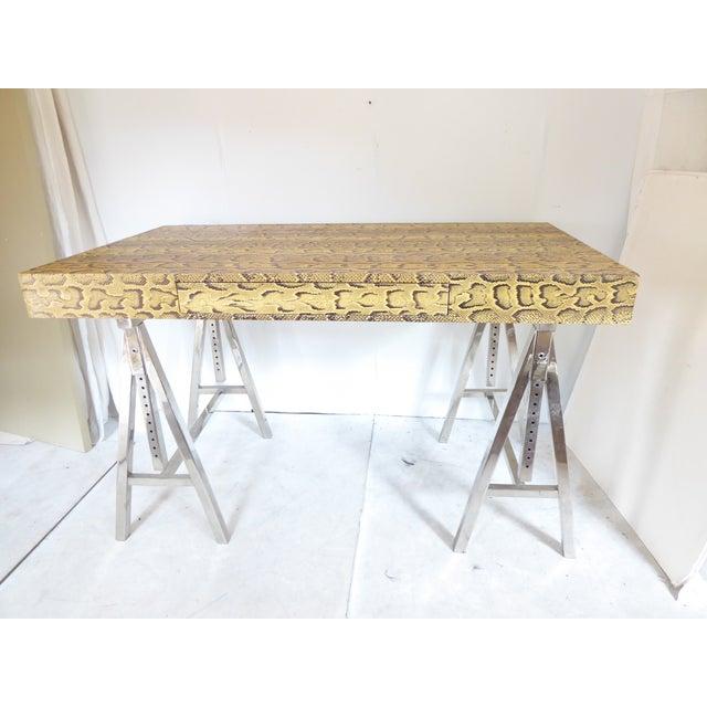 Metal Modern Snake Skin Writing Desk For Sale - Image 7 of 10