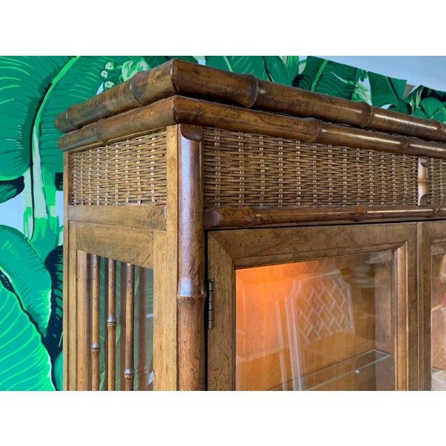 Boho Chic Faux Bamboo and Rattan China Cabinet by American of Martinsville For Sale - Image 3 of 10