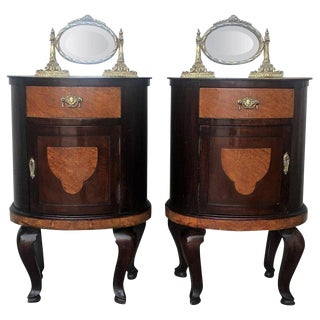 Pair of Round Marquetry Art Decó Night Stands With Mirror Crest For Sale
